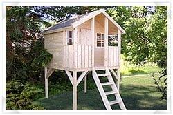 Kids outdoor playhouse on stilts