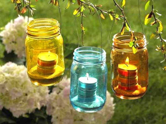 Make outdoor hanging lights from jam jars