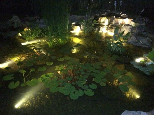 Make a garden pond with lighting