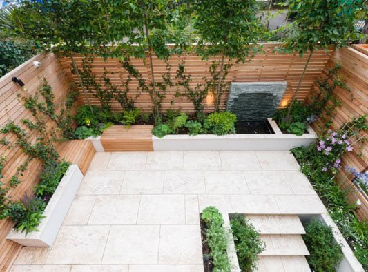 Seating design for a square garden
