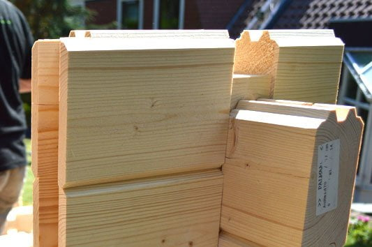 Corner joint chalet cut tongue and groove timbers