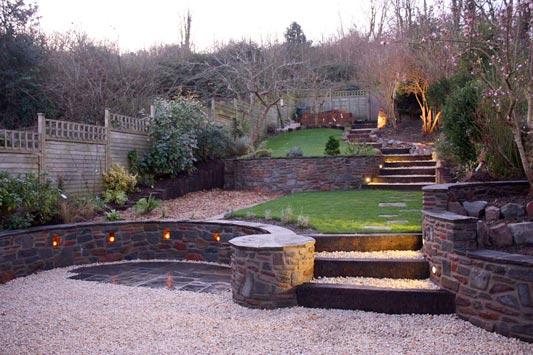 Paths in a hillside garden