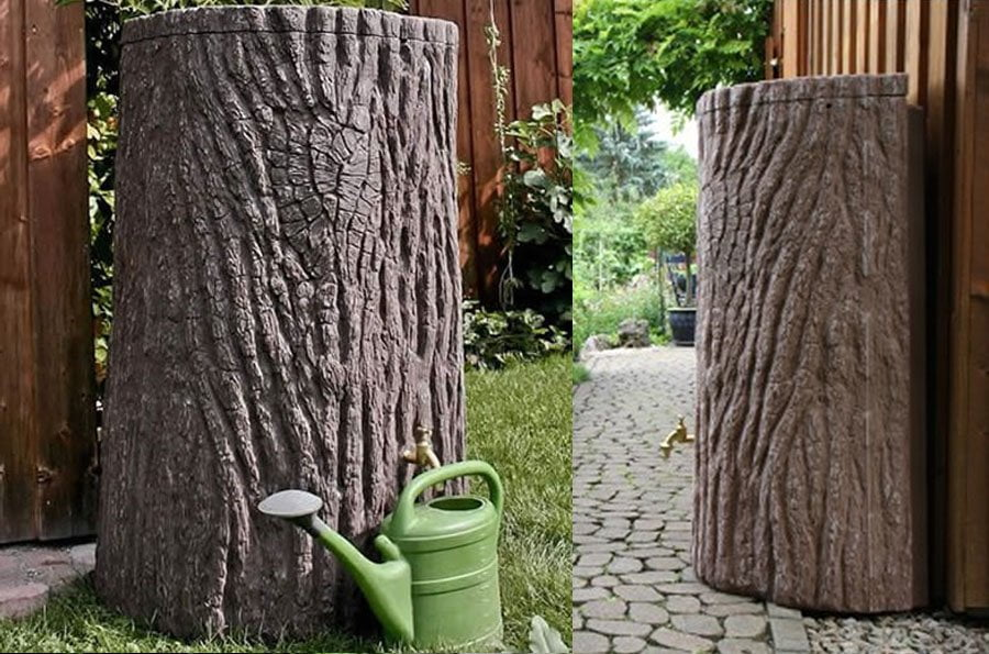 A tree trunk water butt