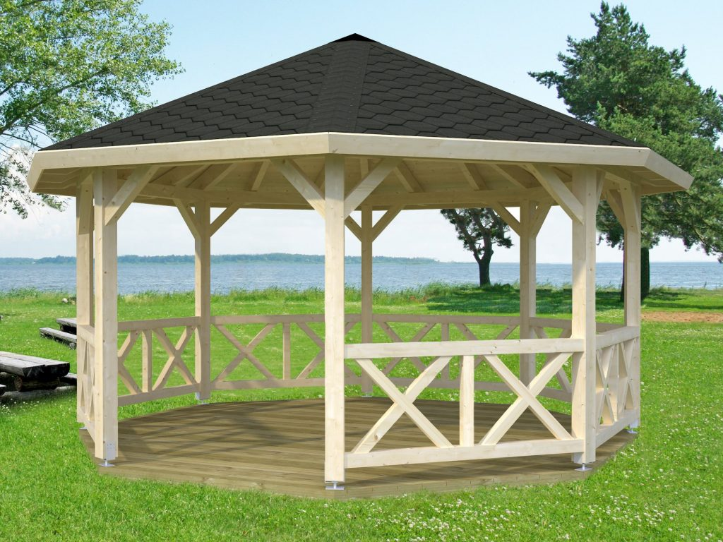 Octagonal timber gazebo