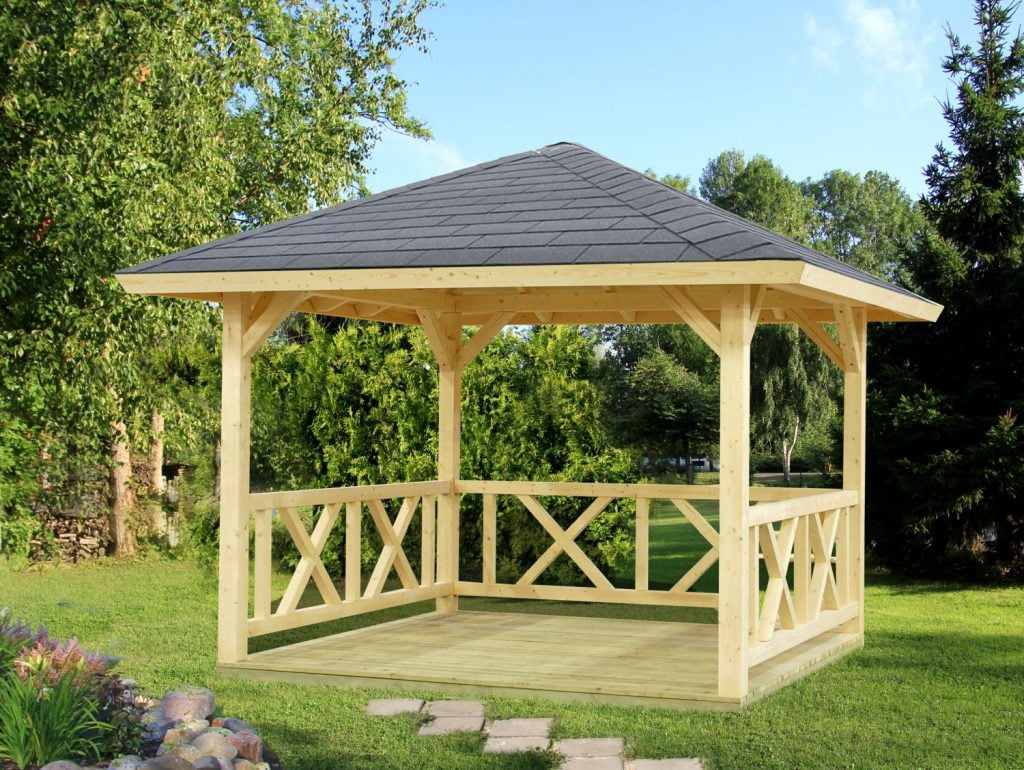 Four sided timber garden gazebo