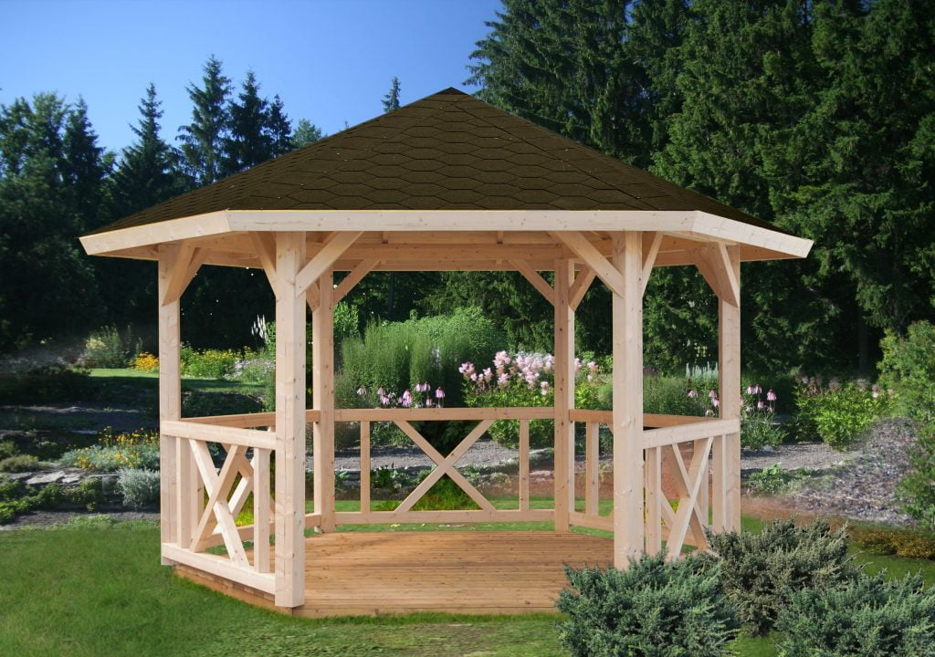 Hexagonal wooden gazebo