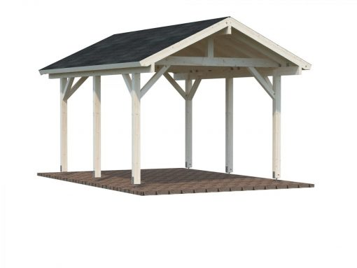 Robert (11.7 sqm) pitched roof timber carport (one car)