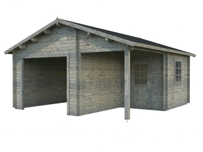 Roger (21.9 sqm + 5.2 sqm) timber garage with covered entrance