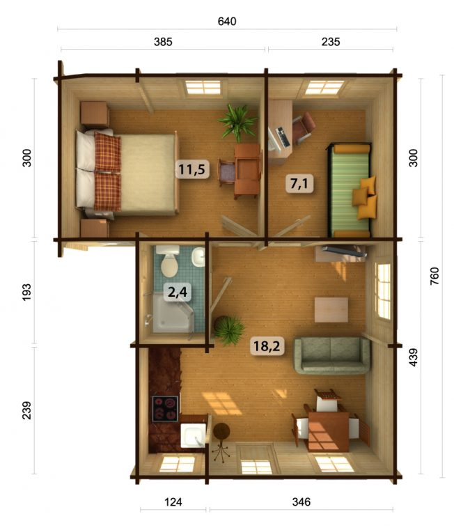 Emily (39.2 sqm) traditional timber holiday house