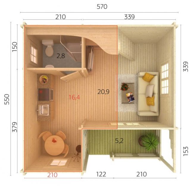 Emily (40.1 sqm + 5.2 sqm) log cabin holiday chalet