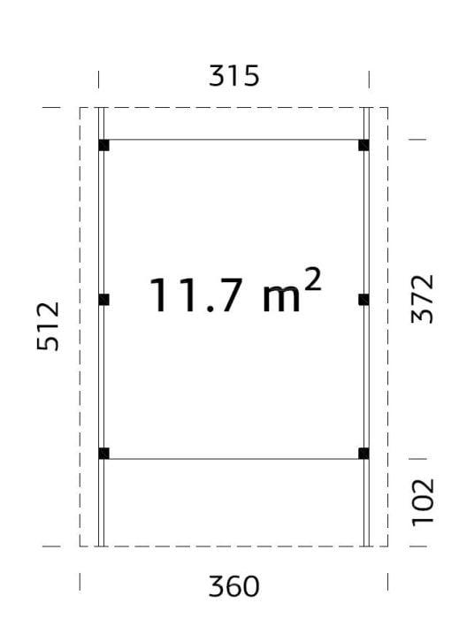 Karl (11.7 sqm) flat roof timber carport (one car)