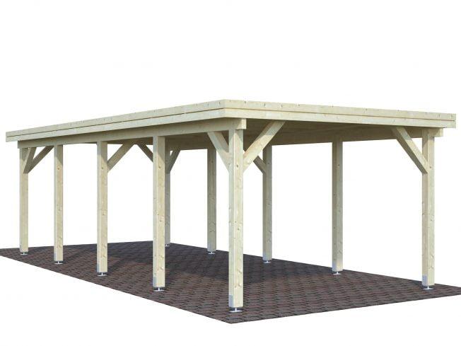 Karl (23.1 sqm) flat roof timber carport (one car)