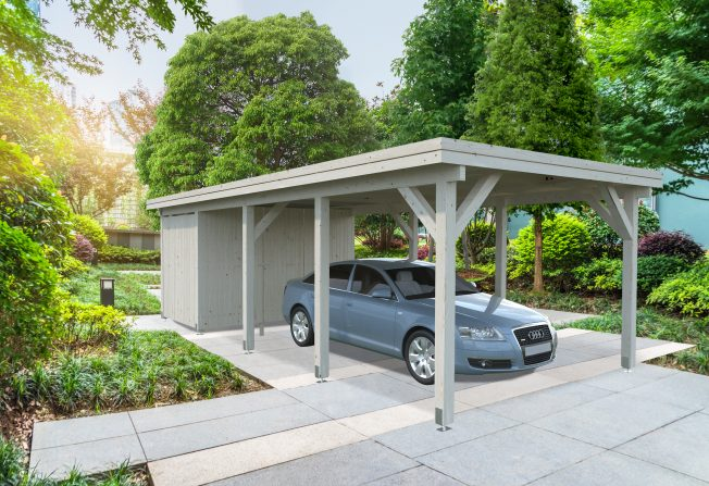 Karl (23.1 sqm) flat roof timber carport (one car) | Enclosed extension
