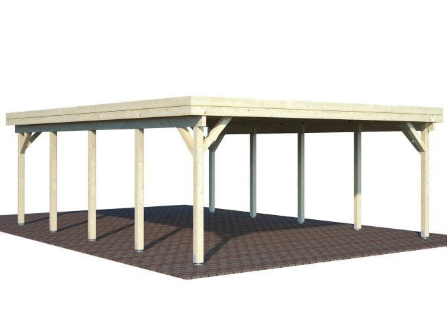 Karl (40.6 sqm) large contemporary timber carport (two cars)