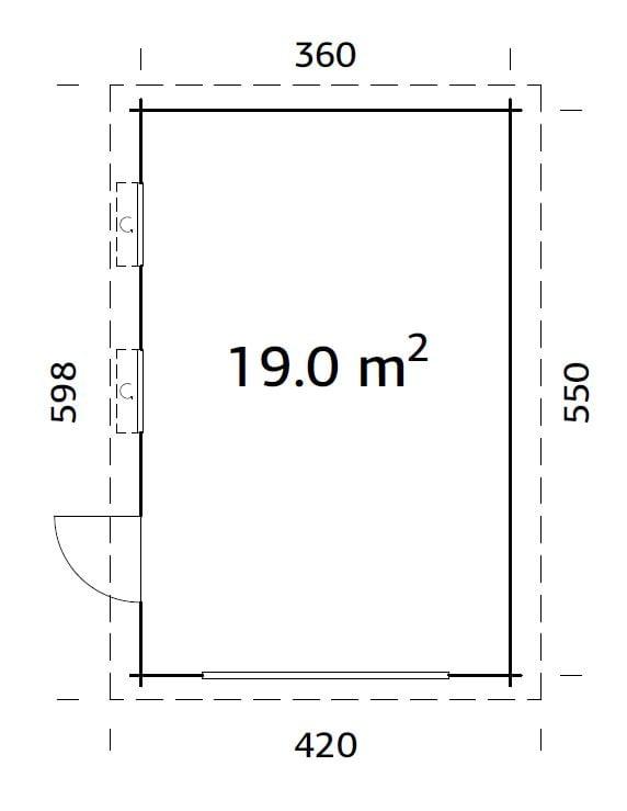 Rasmus (19.0 sqm) modern flat roof timber single garage