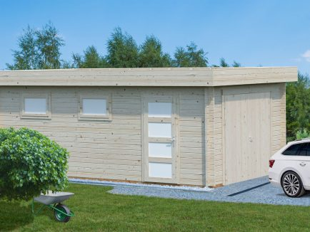 Rasmus (19.0 sqm) modern flat roof timber single garage