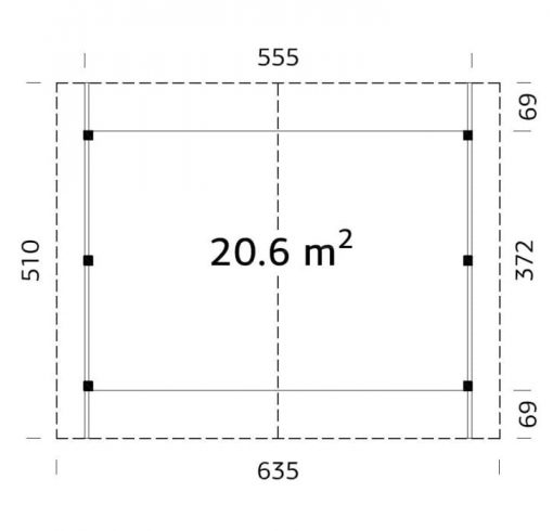 Robert (20.6 sqm) traditional timber carport (two cars)