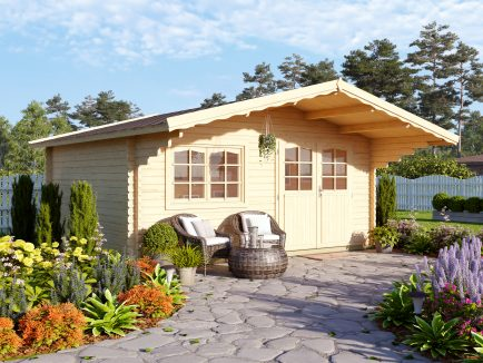 Sally (15.5 sqm) roomy Nordic garden log cabin