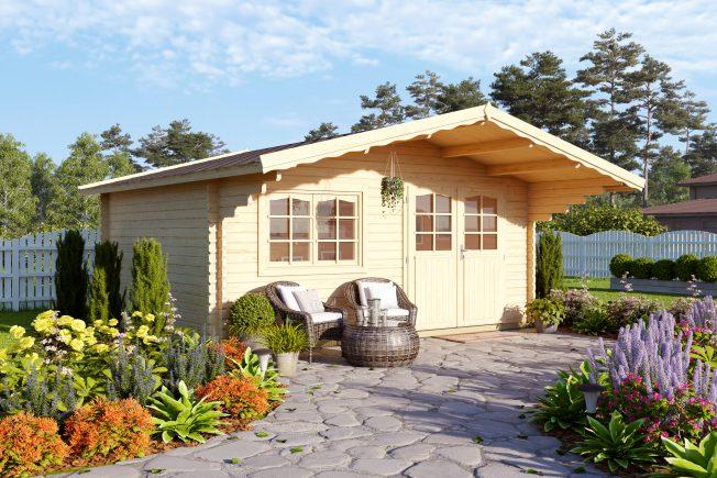 Sally (15.5 sqm) roomy Nordic garden log cabin