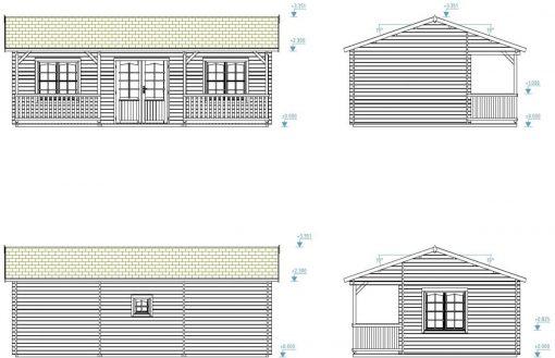 Sandra (25.6 sqm + 11.1 sqm) log cabin summer house