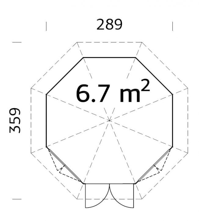 Veronica (6.7 sqm) octagonal summer house | Two windows