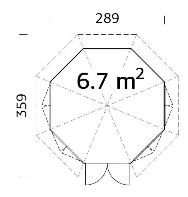 Veronica (6.7 sqm) octagonal summer house | Four windows