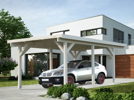 Karl (11.7 sqm or 23.1 sqm) flat roof timber carport (one car)