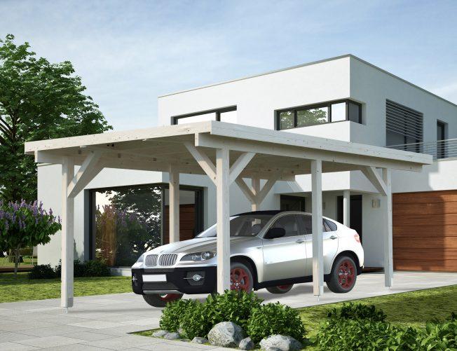 Karl (11.7 sqm or 23.1 sqm) flat roof timber carport (one car)