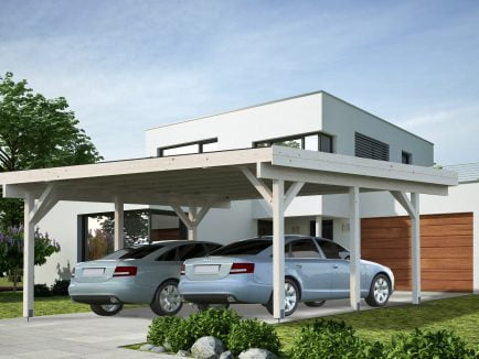 Karl (20.6 sqm) modern flat roof wooden carport (two cars)