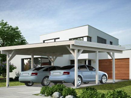 Karl (20.6 sqm) modern flat roof wooden carport (two cars)