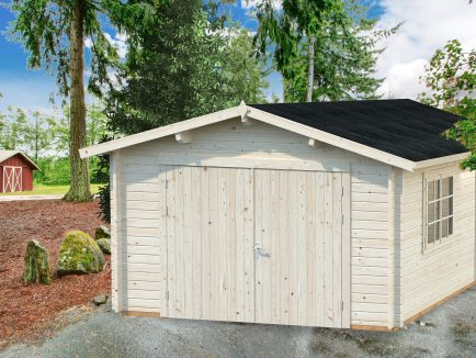 Roger (19 sqm) traditional log cabin single garage