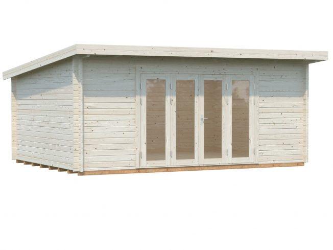 Lea (19.4 sqm) pent garden room with bi-fold doors