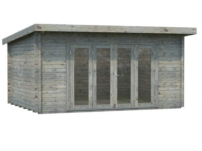 Lea (14.2 sqm) pent garden room with bi-fold doors