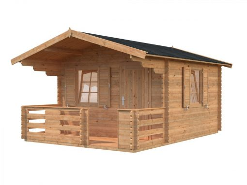 Emma (10.4 sqm + 4.2 sqm) log cabin with terrace and shutters