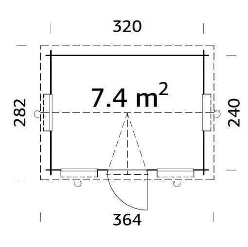 Claudia (7.4 sqm) compact clockhouse garden room