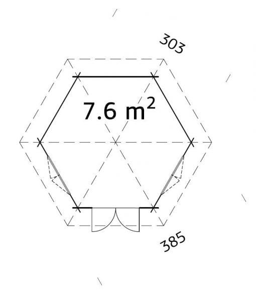 Hanna (7.6 sqm) hexagonal timber garden pavilion