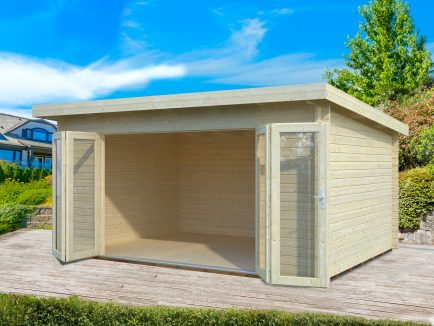 Lea (14.2 sqm) pent garden room with bi-fold doors