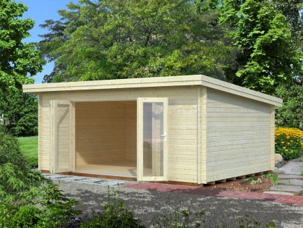Lea (19.4 sqm) large pent garden room with bi-fold doors