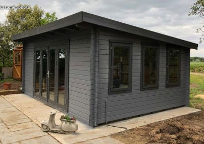 Lea (19.4 sqm) pent garden room with bi-fold doors