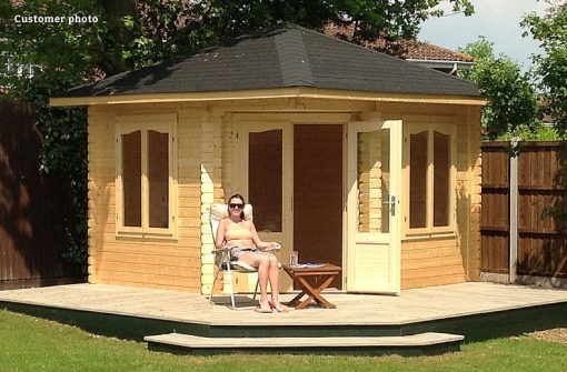 Melanie (9.6 sqm) large heavy duty corner summer house